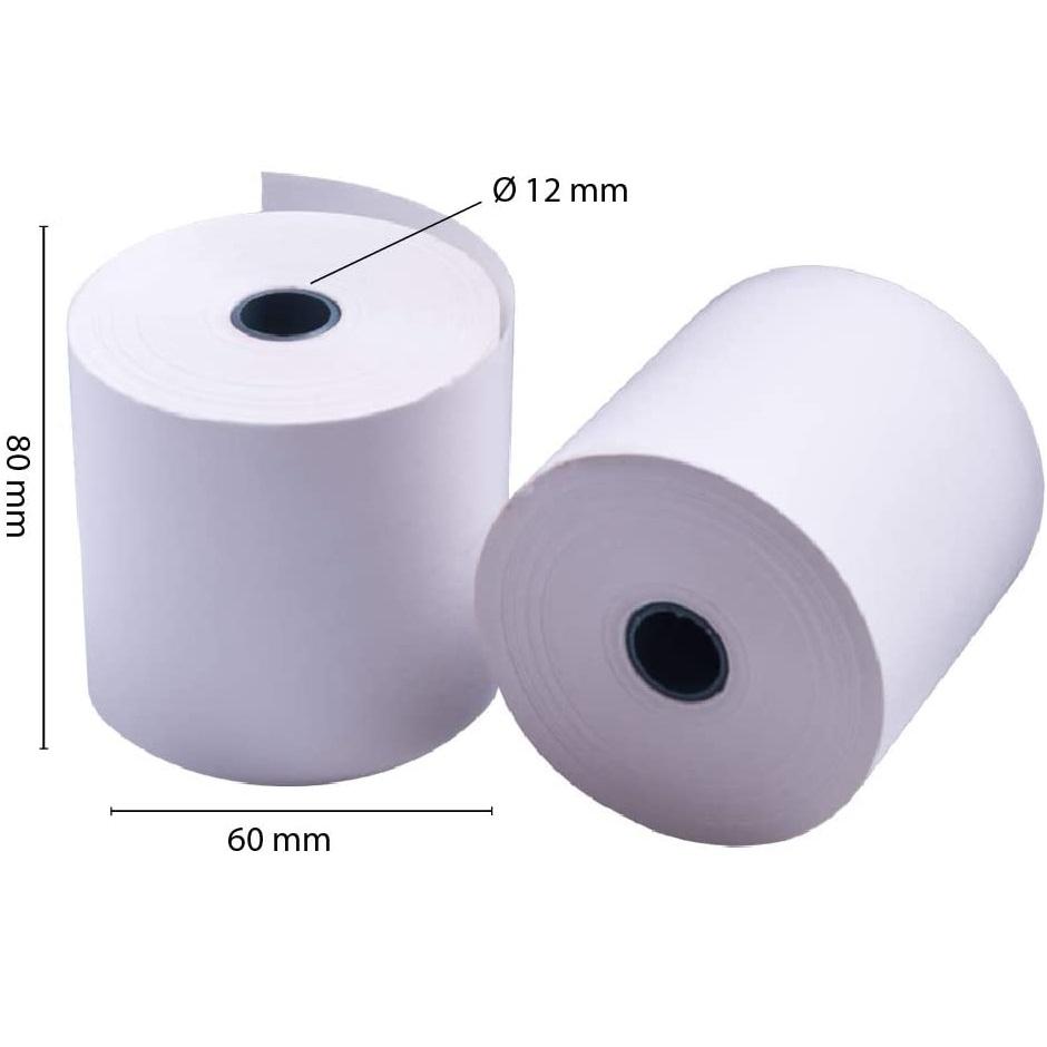 OFITURIA® Rollos Papel Térmico 80x60x12 mm para Sumadora Impresora TPV, Sin Bisphenol A
