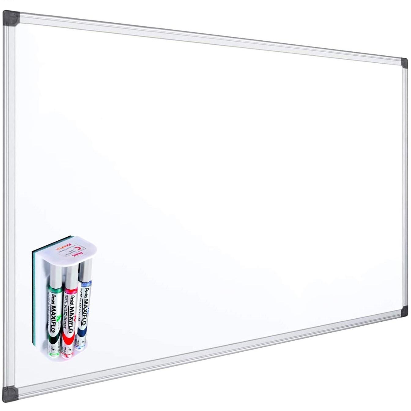 OFITURIA® Pack Pizarra Blanca Magnética + Pentel MAXIFLO Set 4 Rotuladores con Borrador Magnetico