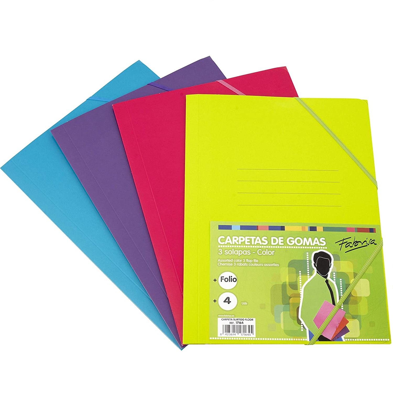 Pack 4 Carpetas Clásicas Colores Fluor