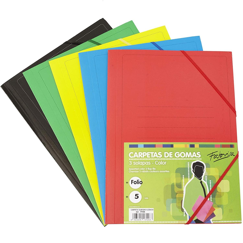 Pack 5 Carpetas Clásicas Multicolor
