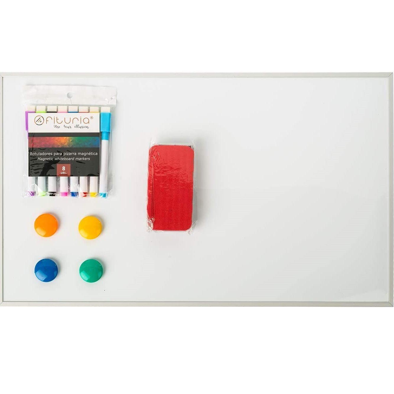 OFITURIA® Pack Pizarra Blanca Magnética (50x30cm) + Rotuladores, Borrador e Imanes